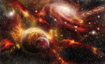 Non-woven wallpaper mural Space Planets 2734